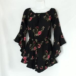 Feathers brand floral bell sleeve romper